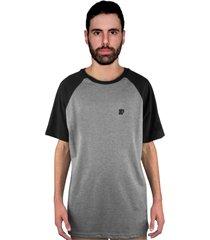 camiseta manga curta raglan skate eterno elite cinza/preto - kanui