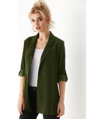 yoins chaqueta de manga larga con cuello de solapa verde militar