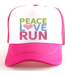 boné trucker corrida estampado snapback rosa e branco - peace love run rosa .