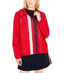 tommy hilfiger mesh-stripe zip jacket
