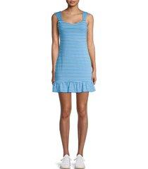 bcbgeneration women's striped ruffle-hem mini dress - azure - size xs
