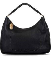 fendi pre-owned braided top handle tote bag - black
