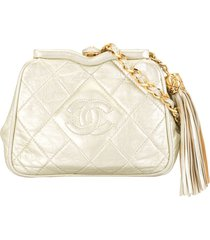 chanel pre-owned 1990s tassel chain shoulder bag - white