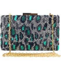 bolsa clutch liage festa bordada estampada onça oncinha paete alça metal prata verde dourada - kanui