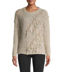 stellah women's fringe sweater - gold - size m