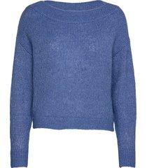 vigood boat neck knit l/s top/2 stickad tröja blå vila