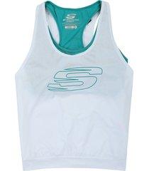 camiseta esqueleto blanca-azul aguamarina  skechers