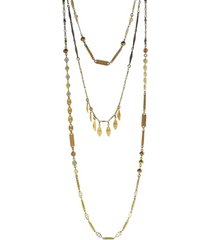 t.r.u. by 1928 triple chain necklace accented with baroque glass pearls and swarovski crystals