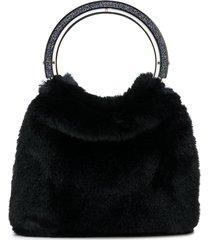kate spade faux fur tote bag - black