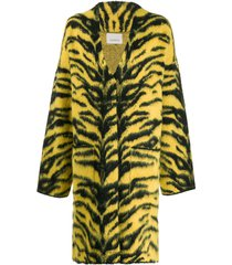 laneus animal print cardi-coat - yellow