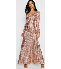 boutique maxi bruidsmeisjes jurk met pailletten en lange mouwen, nude