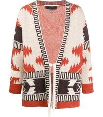 alanui wool patterned cardigan kimono with front tie - orange