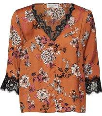 blouse 3/4 s blus långärmad orange rosemunde