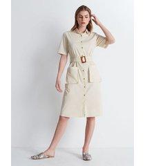 vestido utility unicolor beige