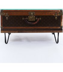 louis vuitton vintage alzer 70 monogram wood suitcase coffee table brown/gold/monogram sz: e
