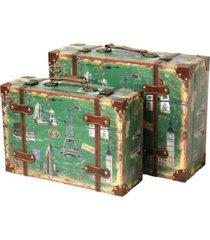 vintiquewise vintage-like style european luggage suitcase, set of 2