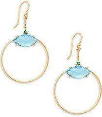 18k yellow gold, blue topaz & green sapphire hoop earrings