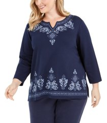 alfred dunner plus size autumn harvest embroidered top