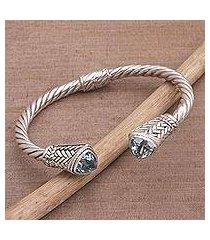 blue topaz cuff bracelet, 'sky weave' (indonesia)