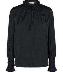 gesmokte blouse met ruches alina  zwart