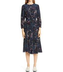 women's lafayette 148 new york delancy floral print silk midi dress, size xx-large - blue