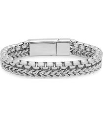 anthony jacobs men's stainless steel box chain bracelet