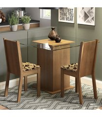 conjunto sala de jantar madesa clei mesa tampo de vidro com 2 cadeiras marrom - marrom - dafiti