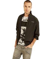 chaqueta crinkled nylon mesh track jkt negro guess