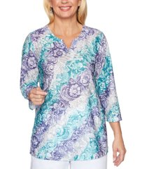 alfred dunner petite classics 2019 textured printed top