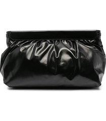isabel marant ruched clutch bag - black
