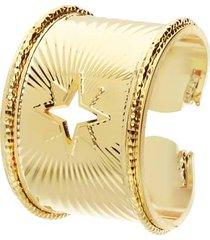 anello rosa dei venti a fascia in bronzo dorato per donna