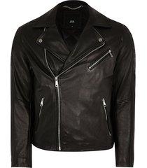 river island mens black leather biker jacket