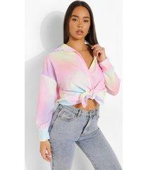 pastel opgeknoopte tie dye blouse, lilac