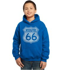 la pop art boy's word art hoodies - cities along the legendary route 66