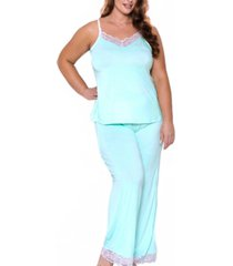 icollection women's alluring knit ultra soft contrast lace cami pant set