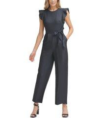 calvin klein ruffle-sleeve chambray jumpsuit