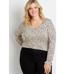 maurices plus size womens 24/7 animal print long flutter sleeve tuck in tee beige