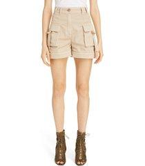 women's balmain high waist cargo shorts, size 10 us - beige