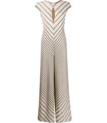 missoni diagonal stripe knit jumpsuit - neutrals