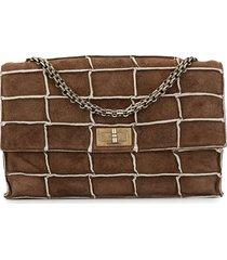chanel pre-owned 1994 line patchwork shoulder bag - brown