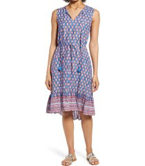 beachlunchlounge lou lou belted sleeveless shift dress, size small in blue paisley at nordstrom