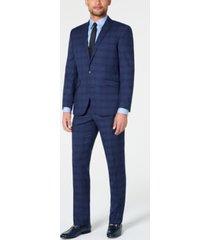 kenneth cole reaction men's ready flex slim-fit stretch dark blue plaid suit