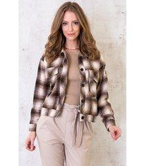geblokt fleece jacket camel