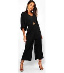 culotte-jumpsuit met kimonomouwen, zwart