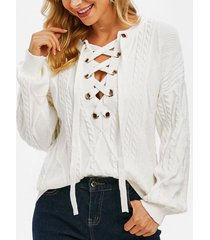 cable knit lace up drop shoulder sweater