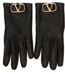 women's valentino garavani go logo leather gloves, size 6.5 - black