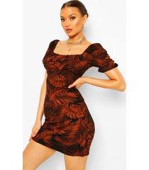 leaf print square neck mini dress, rust