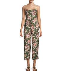 floral cut-out back jumpsuit