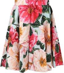 dolce & gabbana light blue skirt for girl with camllias