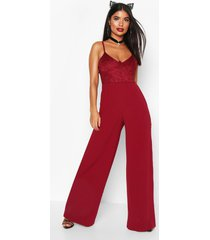 petite underwired lace bralet wide leg jumpsuit, wine